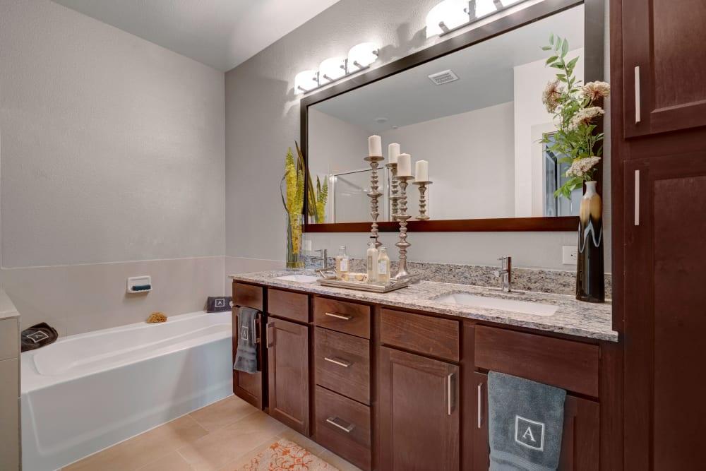 Bright bathroom at Arrabella in Houston, Texas