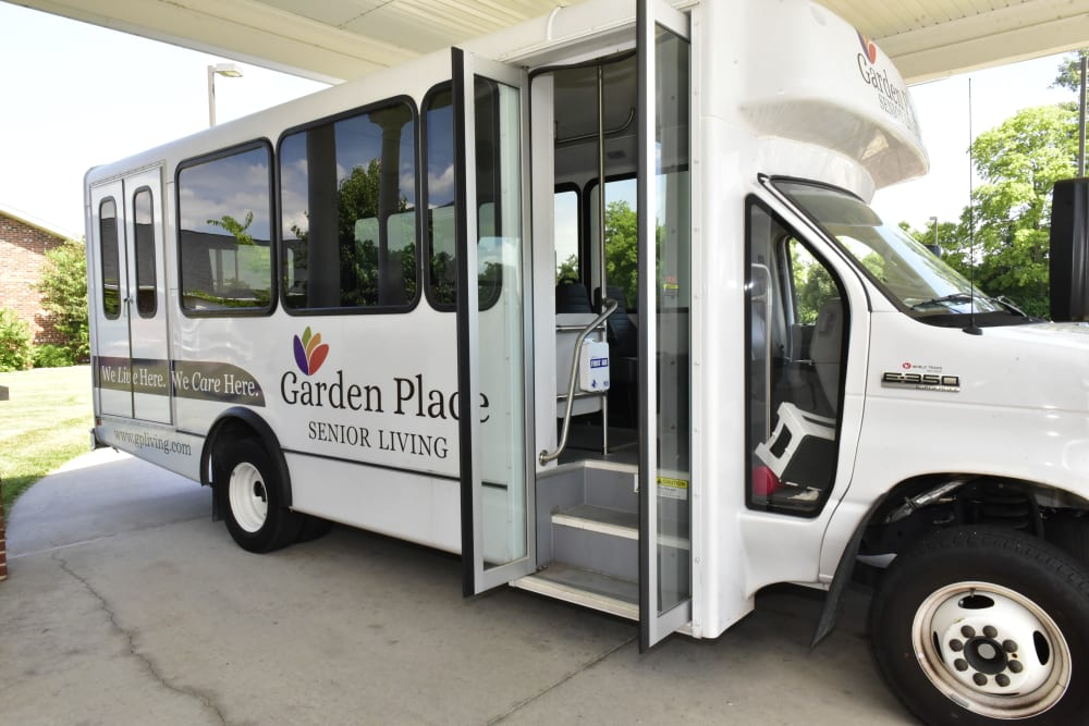 Activities bus ready to take residents out at Garden Place Waterloo in Waterloo, Illinois.