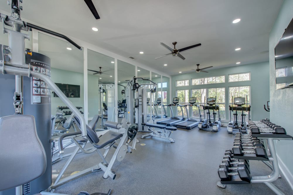 Fitness center at Ingleside Apartments in North Charleston, South Carolina