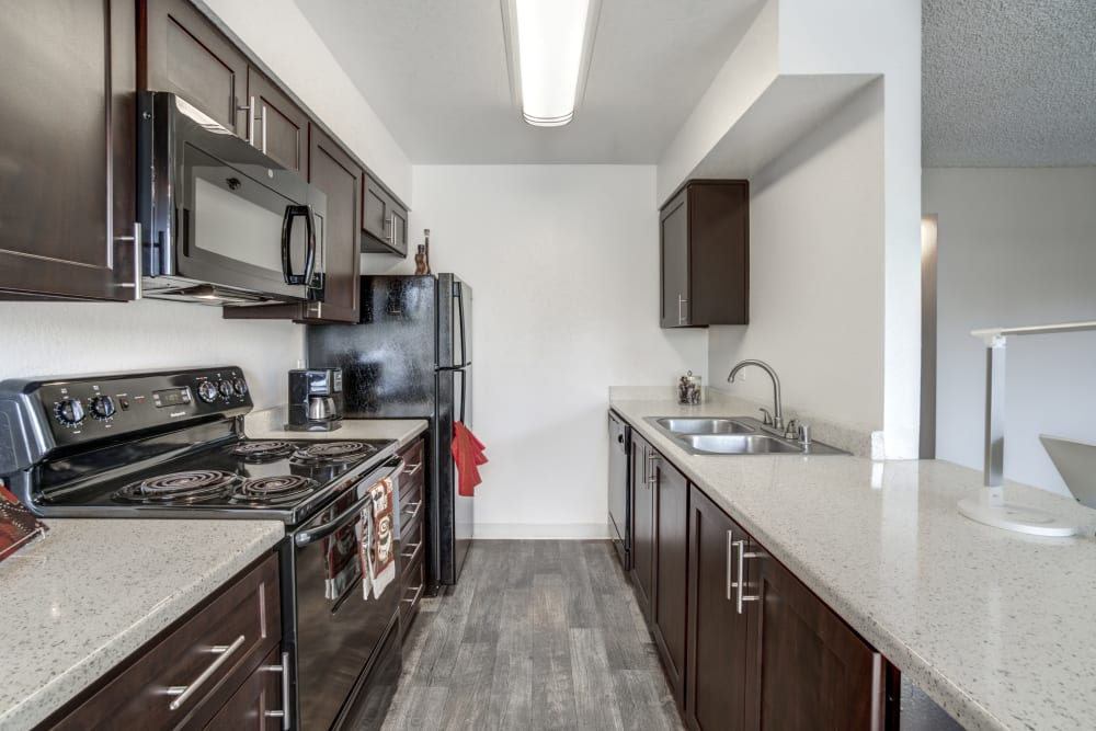 Renovated kitchen at Parkside Commons Apartments in San Leandro, California