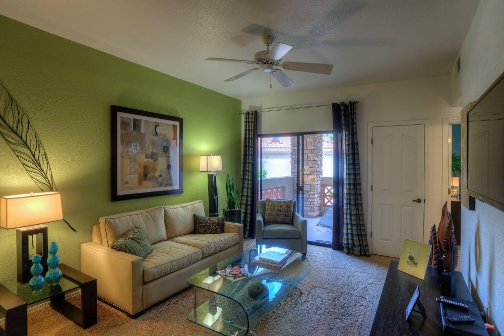 Modern decor in living area of model home at San Marbeya in Tempe, Arizona