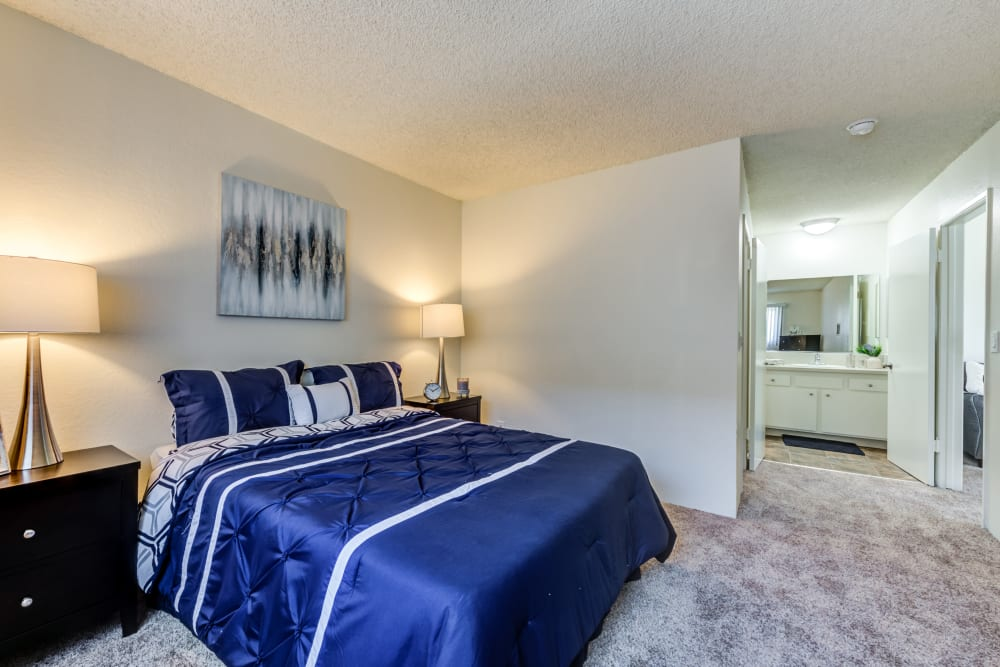 Large master bedroom with private bathroom at The Crossroads, in Van Nuys, CA
