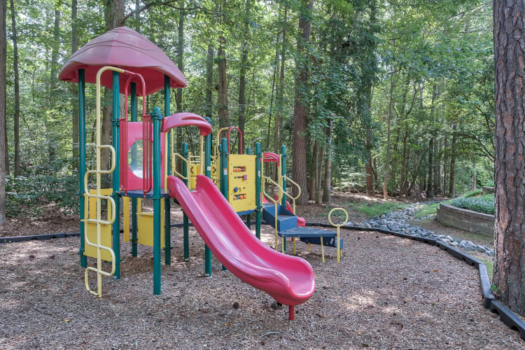 Playground in wooded surroundings at Woods of Williamsburg Apartments