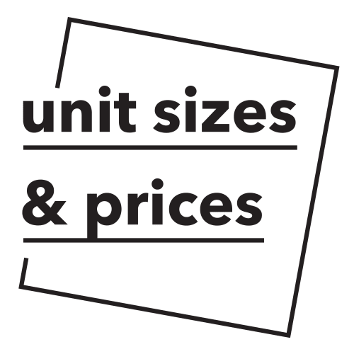 Units sizes and pricing photo card at Clutter Self-Storage in Long Island City, New York