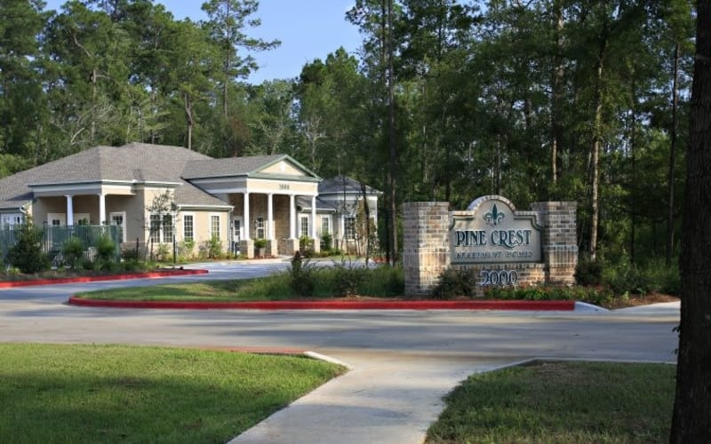 Pine Crest Apartment Homes entrance in Covington, Louisiana