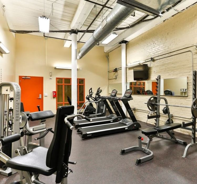 Modern fitness center at Highland Mill Lofts in Charlotte, North Carolina