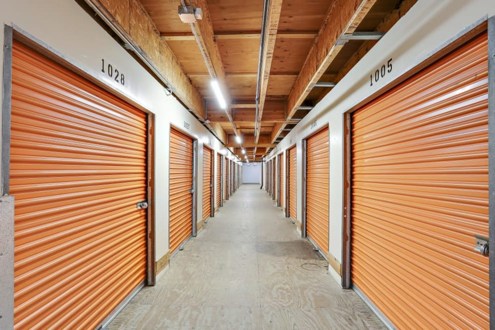 A row of indoor storage units at A-1 Self Storage in Oceanside, California