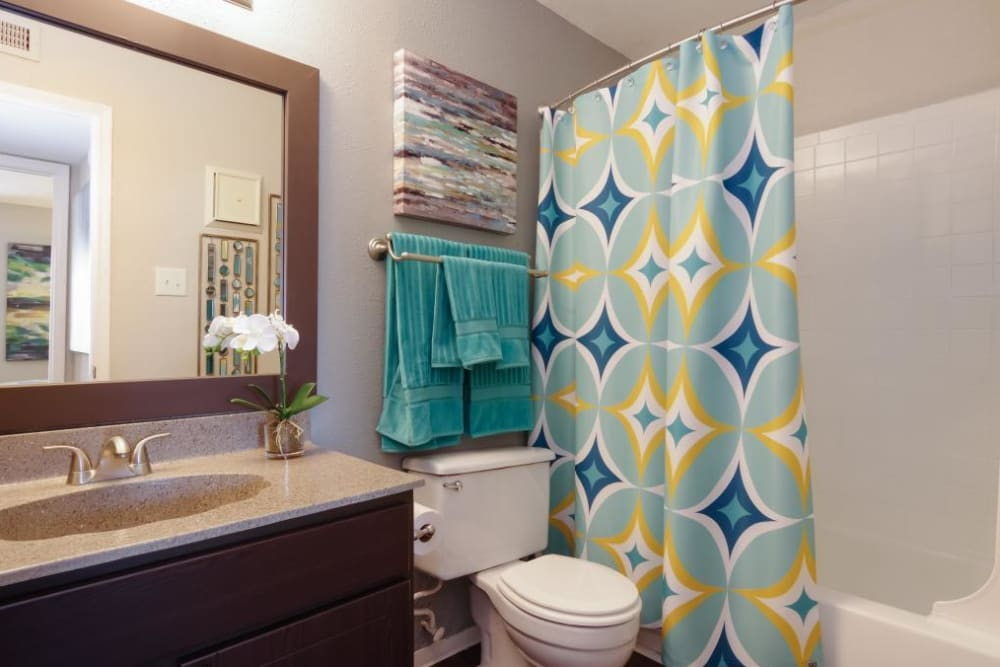 Guest bathroom at Circle at Point Park in Houston, Texas