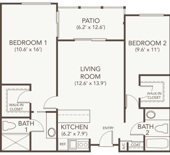Independent living two bedroom two bath at Oakmont Gardens in Santa Rosa, California
