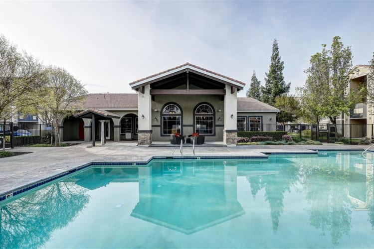 Pool area at Sierra Oaks Apartments in Turlock, California