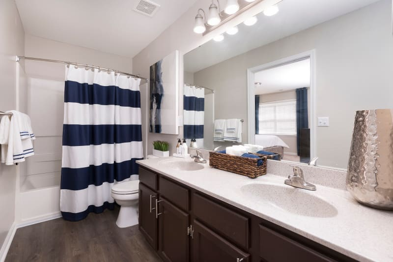 Modern bathroom with tons of counter space at Ascend @ 1801 in Charlotte, North Carolina