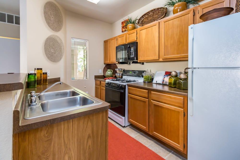 Kitchen model at San Miguel del Bosque in Albuquerque, New Mexico