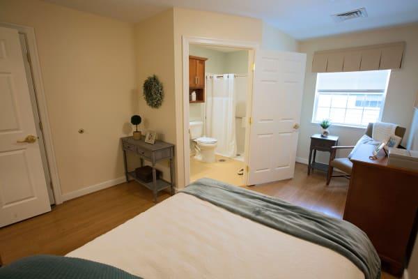 Resident bedroom model at Artis Senior Living of Eatontown in Eatontown, New Jersey