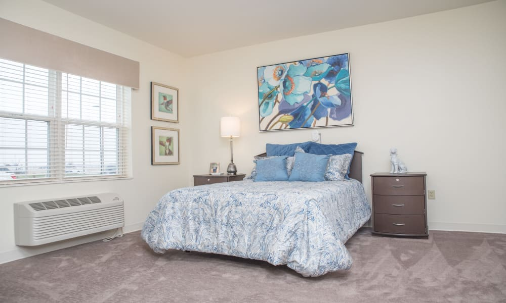 Model bedroom at The Willows at Tiffin in Tiffin, Ohio.