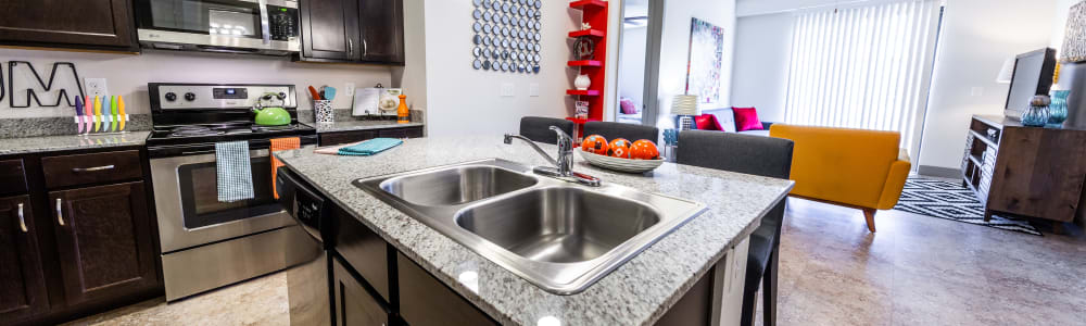 Kitchen island at Regents West at 24th in Austin, Texas