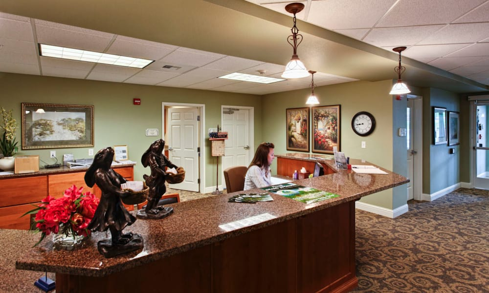 Reception desk at Sea View Senior Living Community in Brookings, Oregon