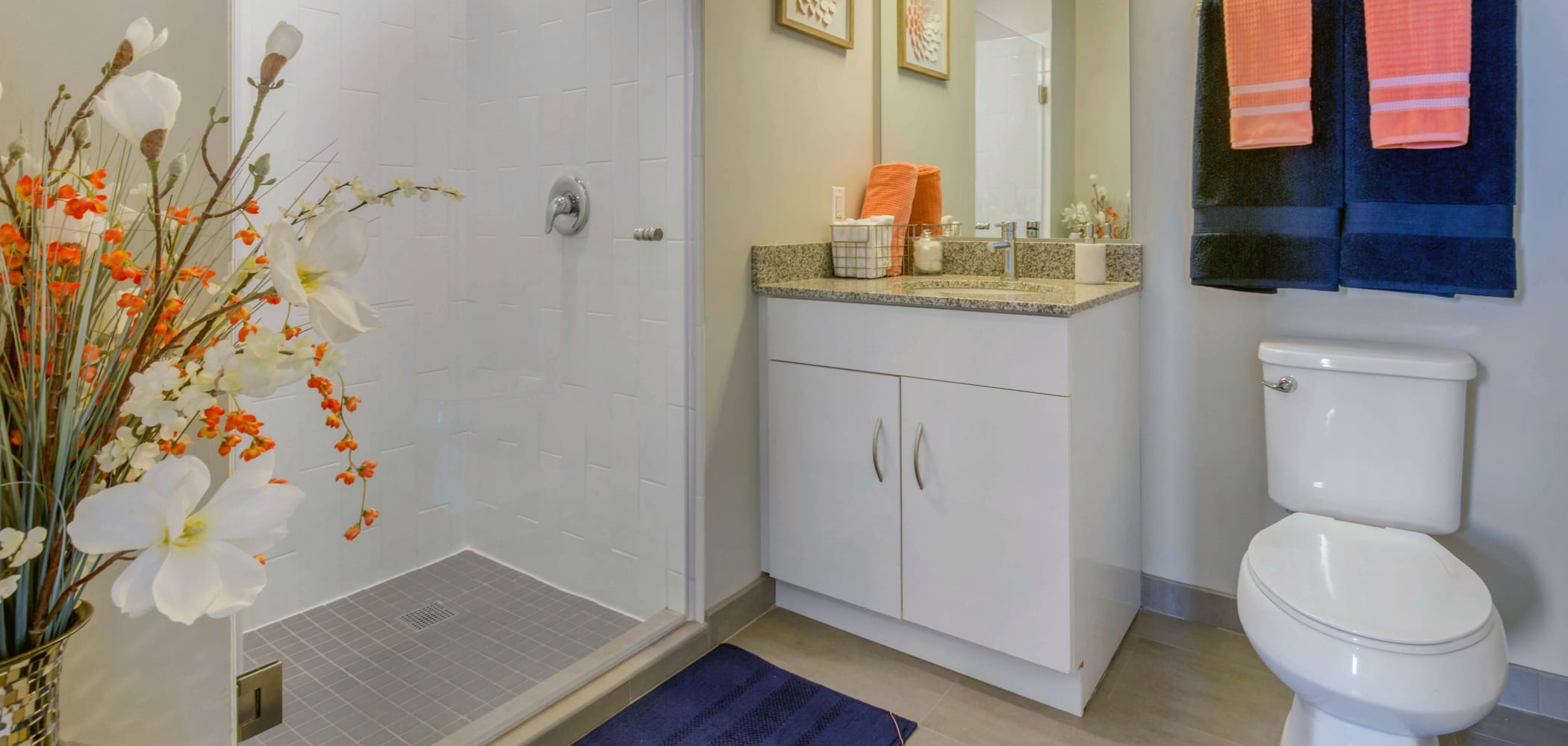 Clean bathroom at HERE Champaign in Champaign, Illinois