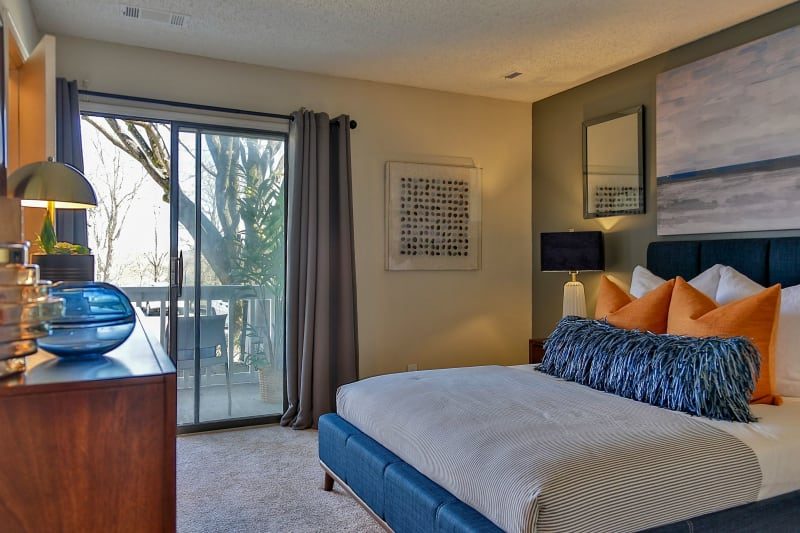Bedroom with porch access at Lyric on Bell in Antioch, Tennessee