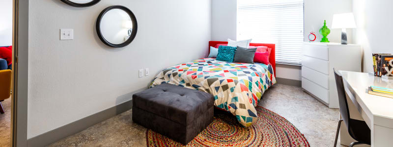 Cozy bedroom at Regents West at 24th in Austin, Texas