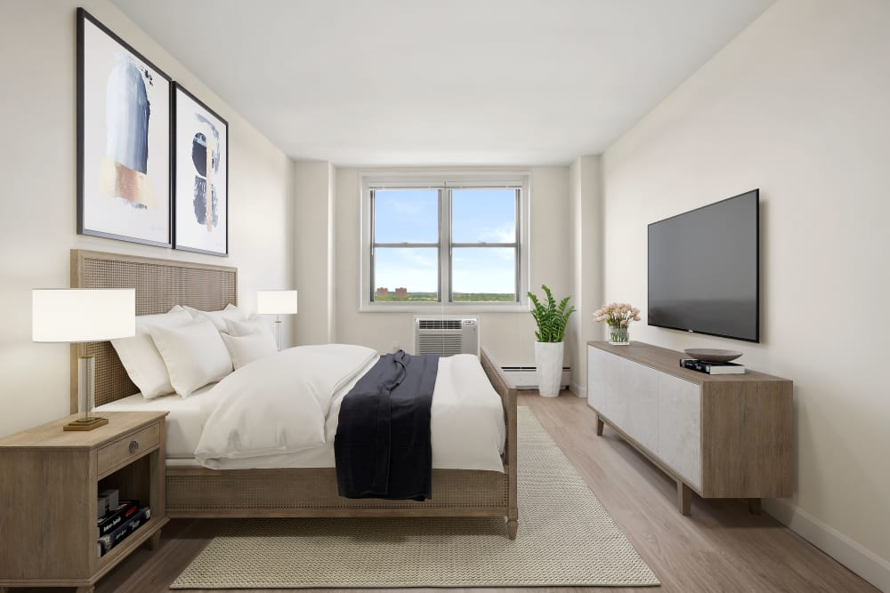 Bright bedroom at Parkside Place in Cambridge, Massachusetts
