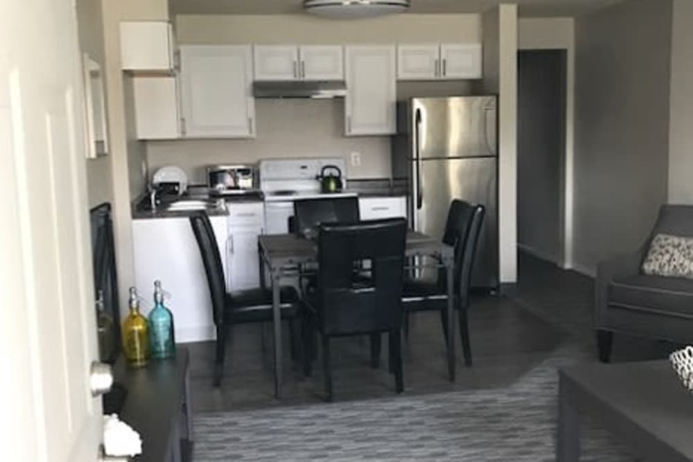Kitchen and dining room layout at Capitol Hill Apartments in Denver, Colorado