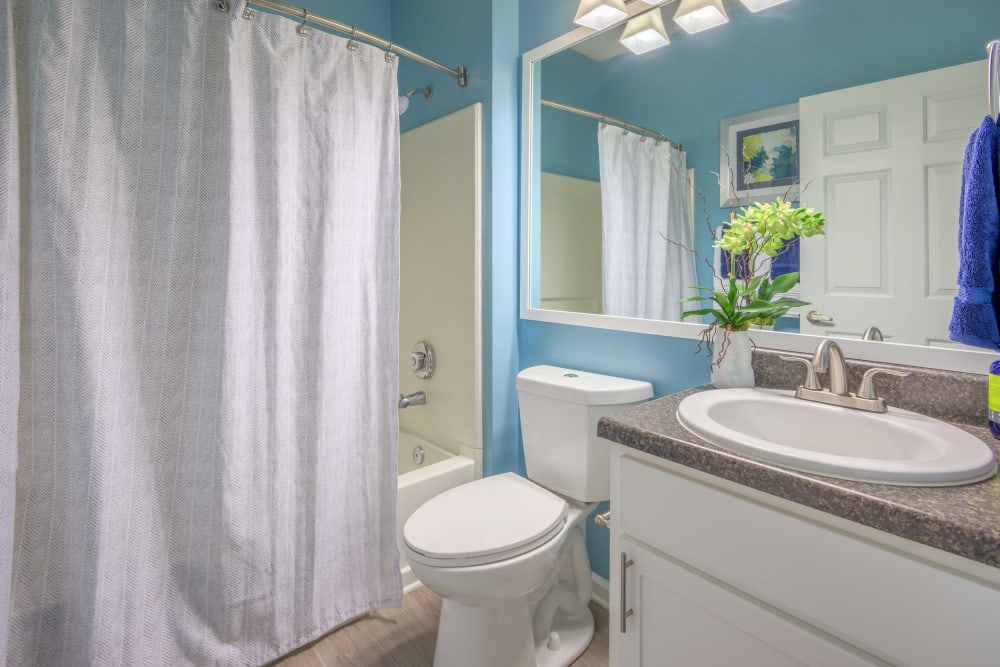 Large bathroom with shower and full mirror at The Mark in Raleigh, North Carolina