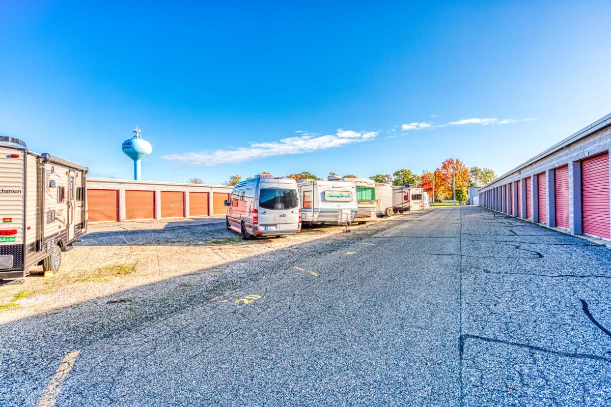 RV, boat, and auto parking spaces at Devon Self Storage in Holland, Michigan
