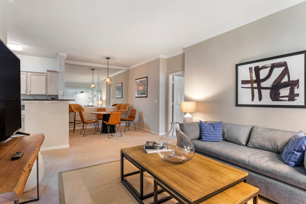 Open model living room and dining nook at Regency at First Colony in Sugar Land, Texas