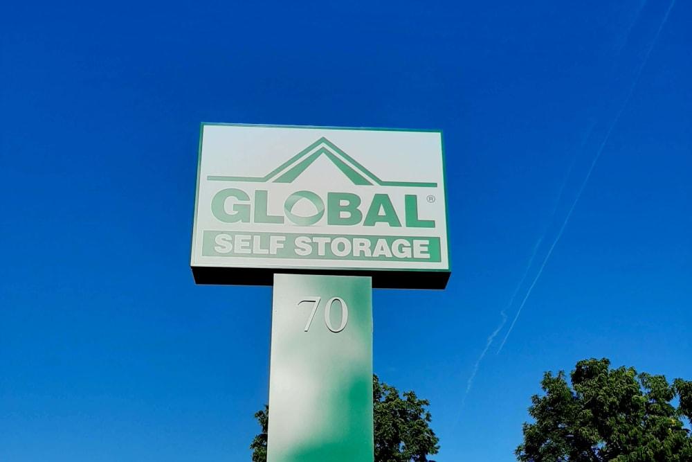 Front signage at Global Self Storage in West Henrietta, New York