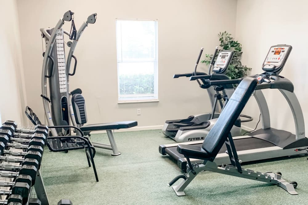 A fitness center with treadmills at Green Wood in Gallatin, Tennessee