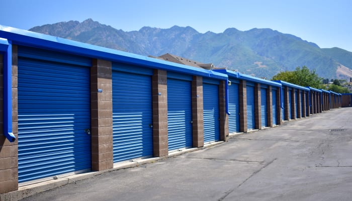 Blue doors on exterior storage units at a STOR-N-LOCK Self Storage location