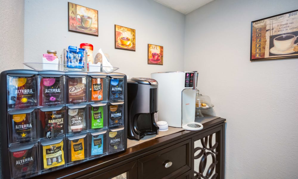 Coffee station at Lexington Park Apartments in Smyrna, Georgia