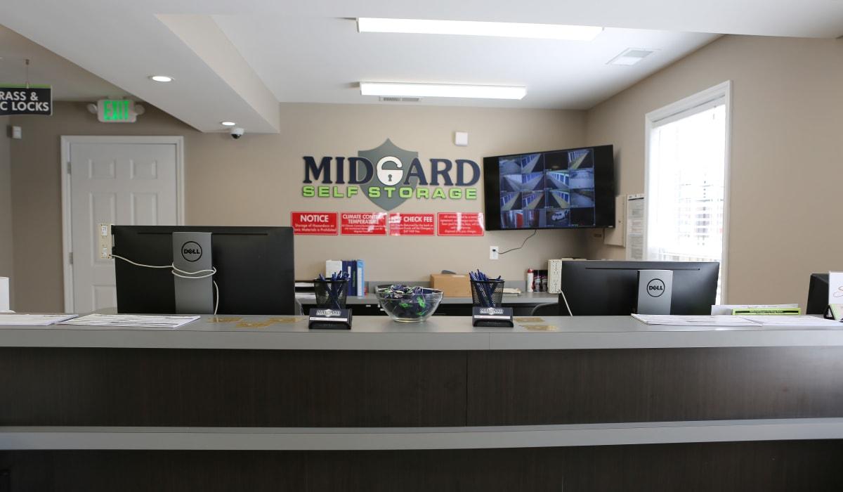 Leasing office at Midgard Self Storage in Florence, Alabama
