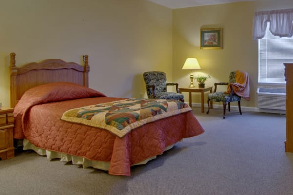 Assisted living apartment bedroom at Celebration Way in Shelbyville, Tennessee