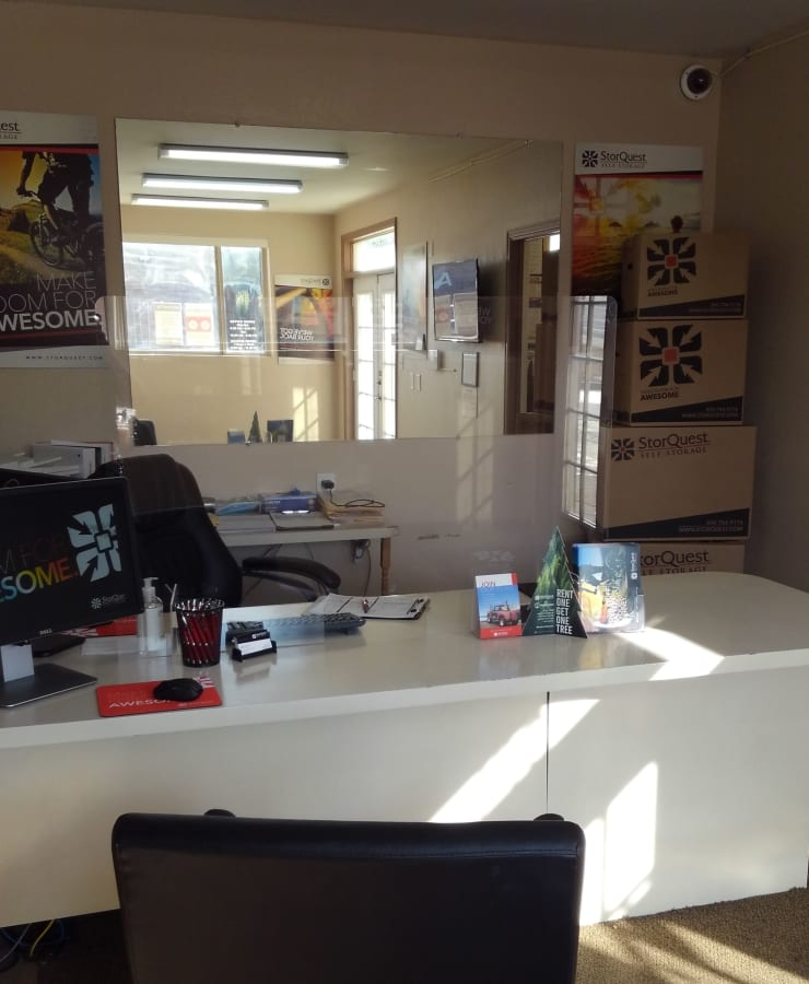Interior of the leasing office at StorQuest Self Storage in Highlands Ranch, Colorado