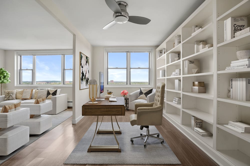Office / living room at Parkside Place in Cambridge, Massachusetts