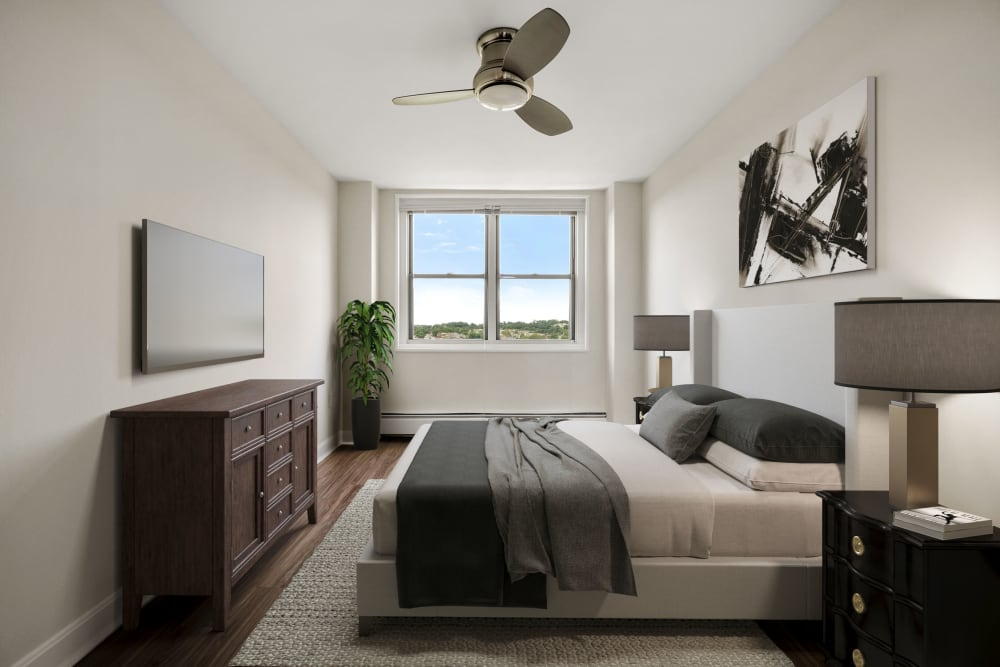 Modern bedroom at Parkside Place in Cambridge, Massachusetts