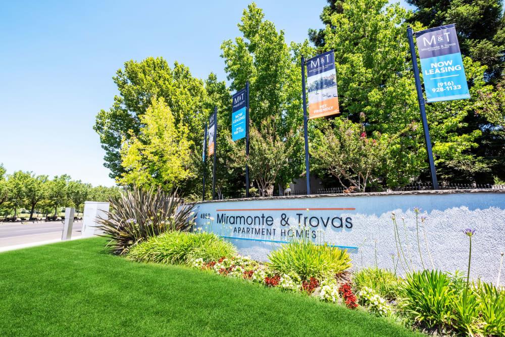 The monument sign at Miramonte and Trovas in Sacramento, California