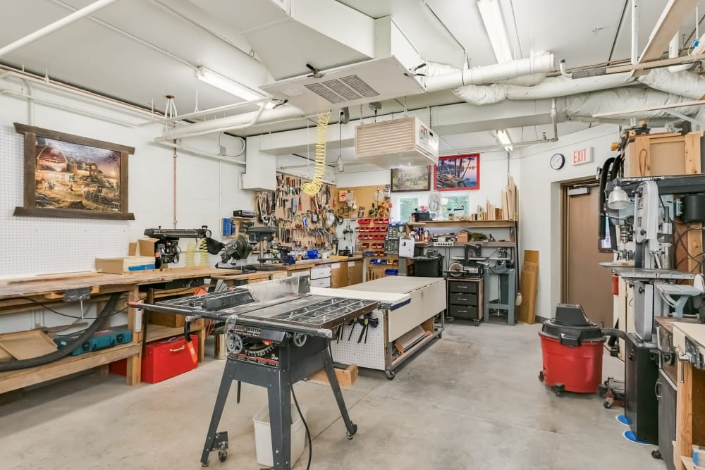 Woodworking shop at Applewood Pointe Woodbury in Woodbury, Minnesota.