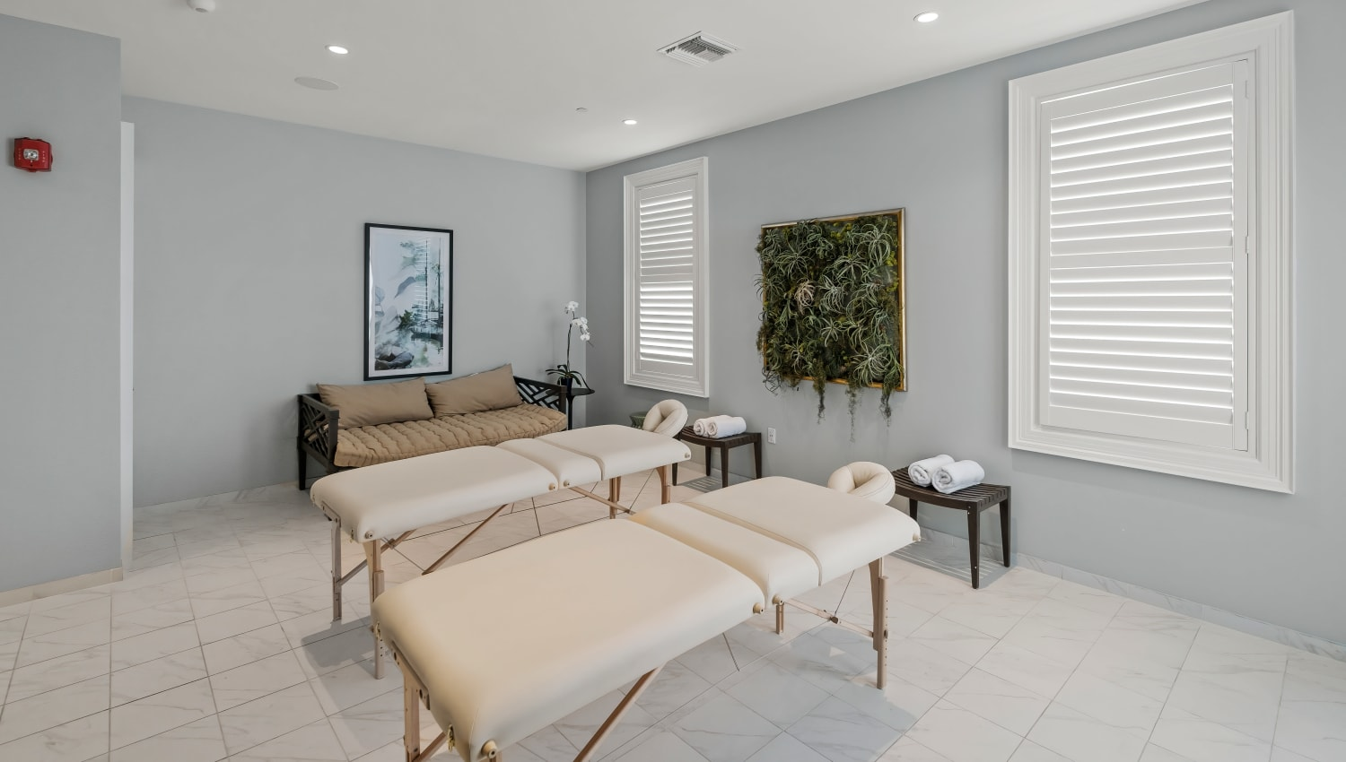 Massage tables in the private spa at Town Lantana in Lantana, Florida