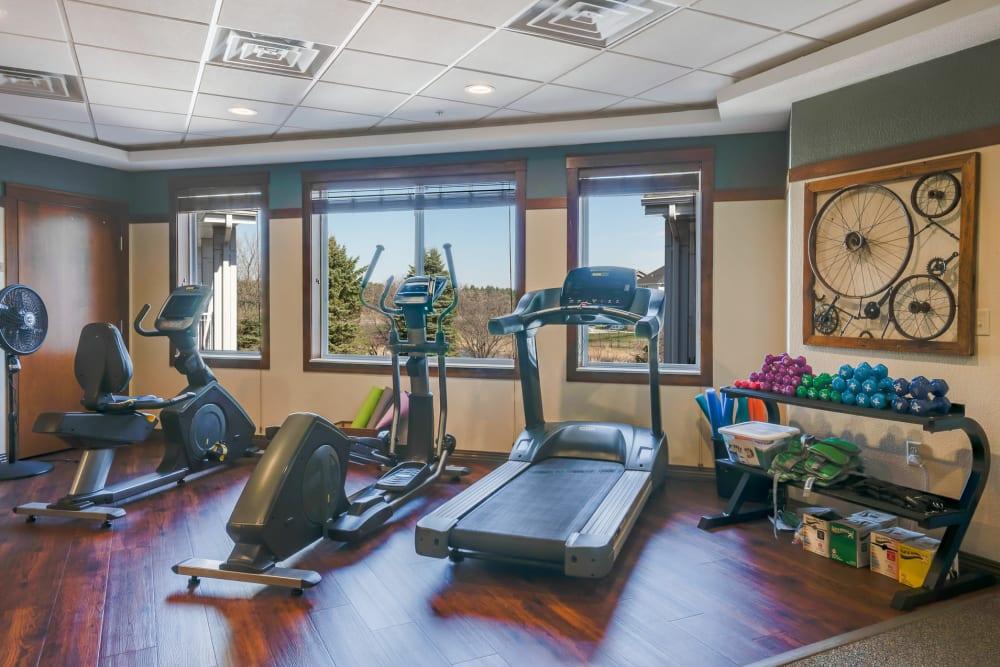 On-site fitness center at Arbor Glen Senior Living in Lake Elmo, Minnesota