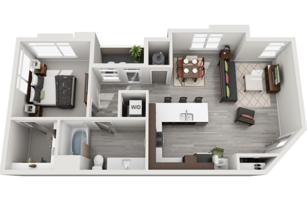 View 1 Bedroom Floor Plans at Solana Lucent Station | Apartments in Highlands Ranch, Colorado
