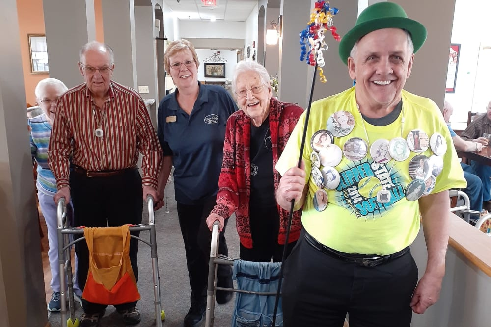 Residents St. Patrick's Day parade through the halls of Clover Ridge Place in Maquoketa, Iowa.