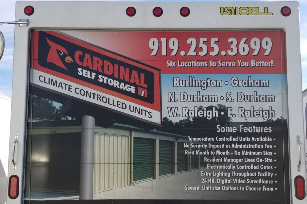 We offer moving trucks at Cardinal Self Storage - East Raleigh in Raleigh, North Carolina