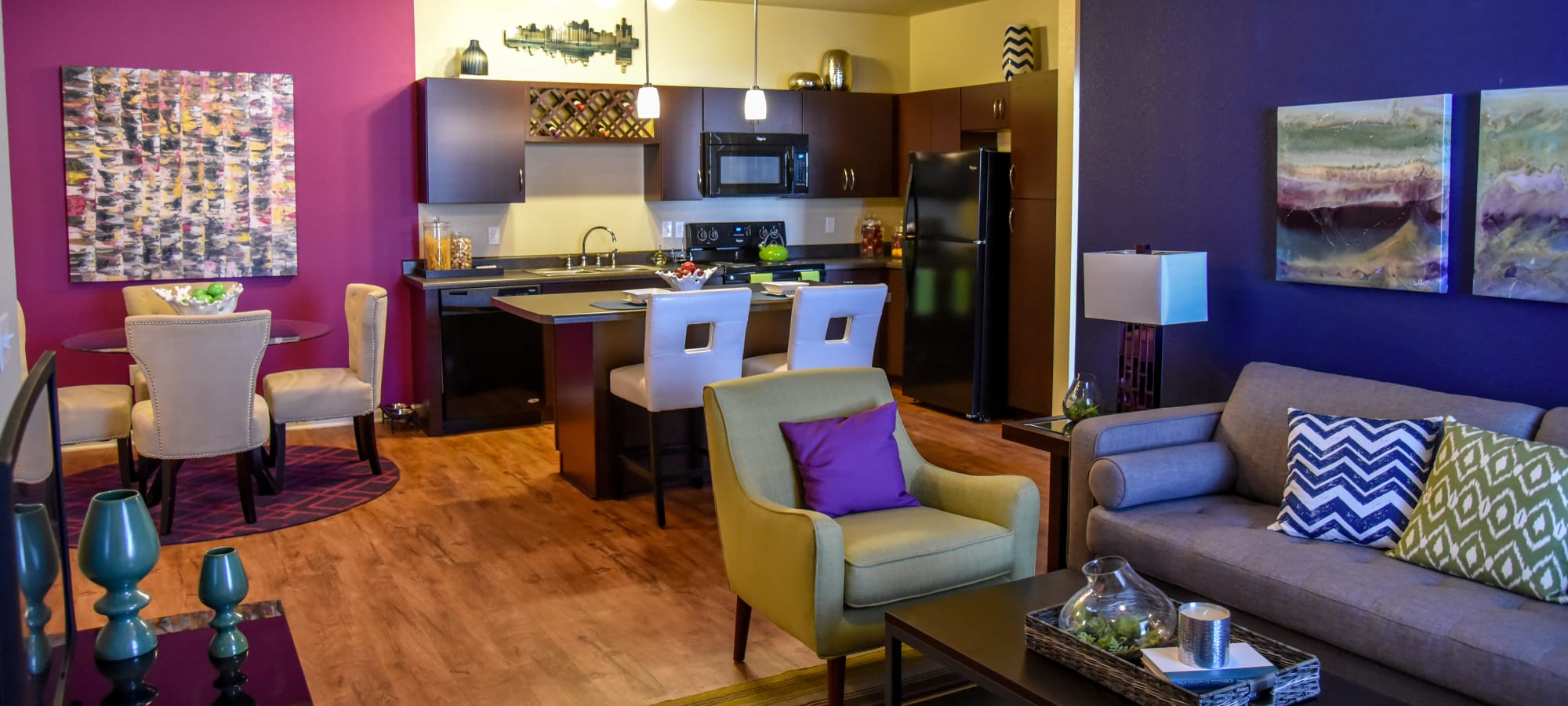 Luxury Apartments with Black Applianes and a Large Dining Area in Savage, MN