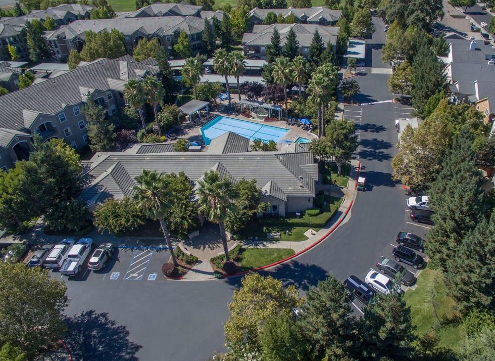 An aerial view ofHawthorn Village Apartments in Napa, California