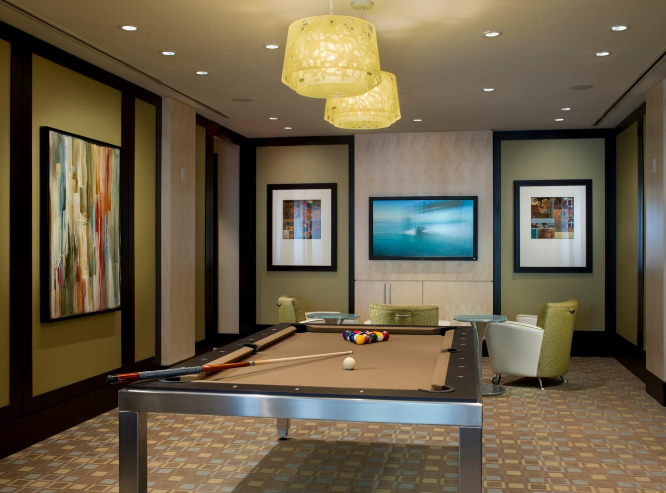 A modern billiards tables at Solaire 1150 Ripley in Silver Spring, Maryland