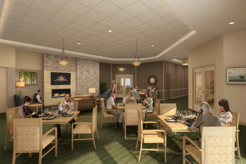Resident dining room at Merrill Gardens at Renton Centre in Renton, Washington