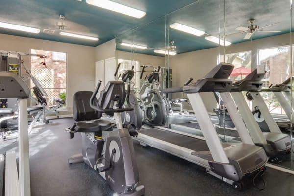 Resident fitness facility at Crystal Bay in Webster, Texas.