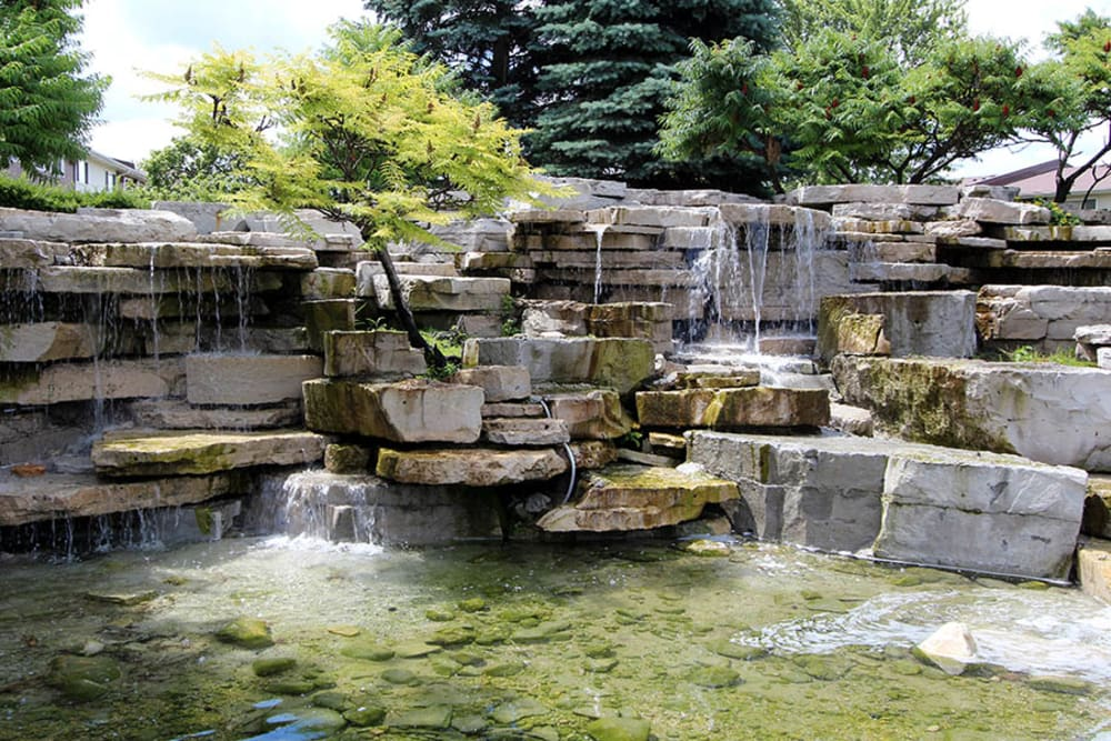 A calming water feature at Riverstone Apartments in Bolingbrook, Illinois